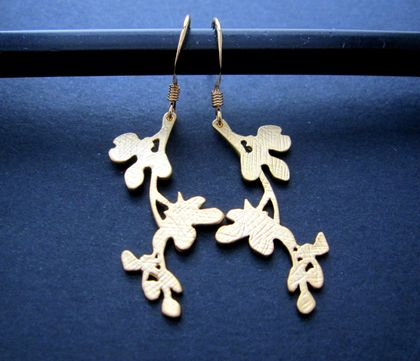 gold flowering branch earrings