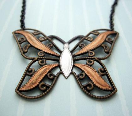 sale - shabby chic metallic butterfly filigree necklace on long black chain