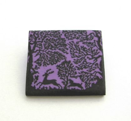 lavender deer in forest brooch