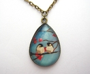 20% off with voucher code SALE - birds and blossoms - teardrop glass dome necklace