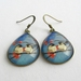 Birds and blossoms - glass dome teardrop earrings