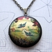 Patterned brass locket necklace - birds