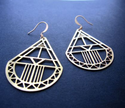 teardrop cutout raw brass earrings