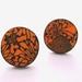 Orange chrysanthemum patterened stud earrings