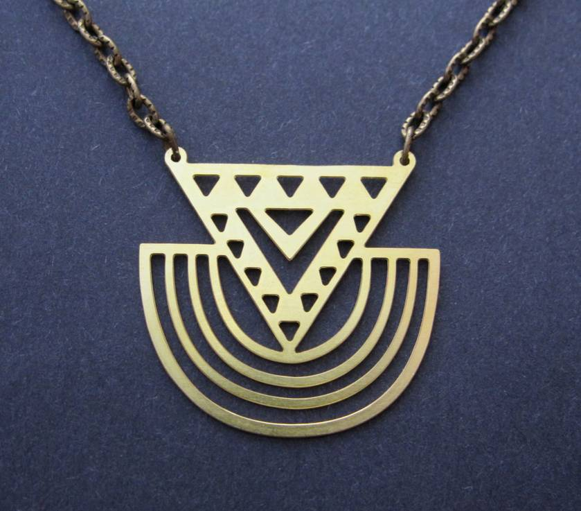 Raw brass tribal cut-out pendant necklace