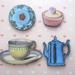 Afternoon tea - woodcut magnet set