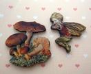 Fairy and mushroom - woodcut magnet duo