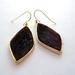 sale - gold rimmed fake fur earrings - deep wine red