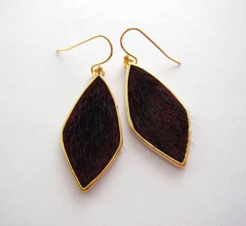 gold rimmed fake fur earrings - deep wine red