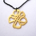 gold cherry blossom on long black chain