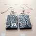 sale - black and white forest earrings