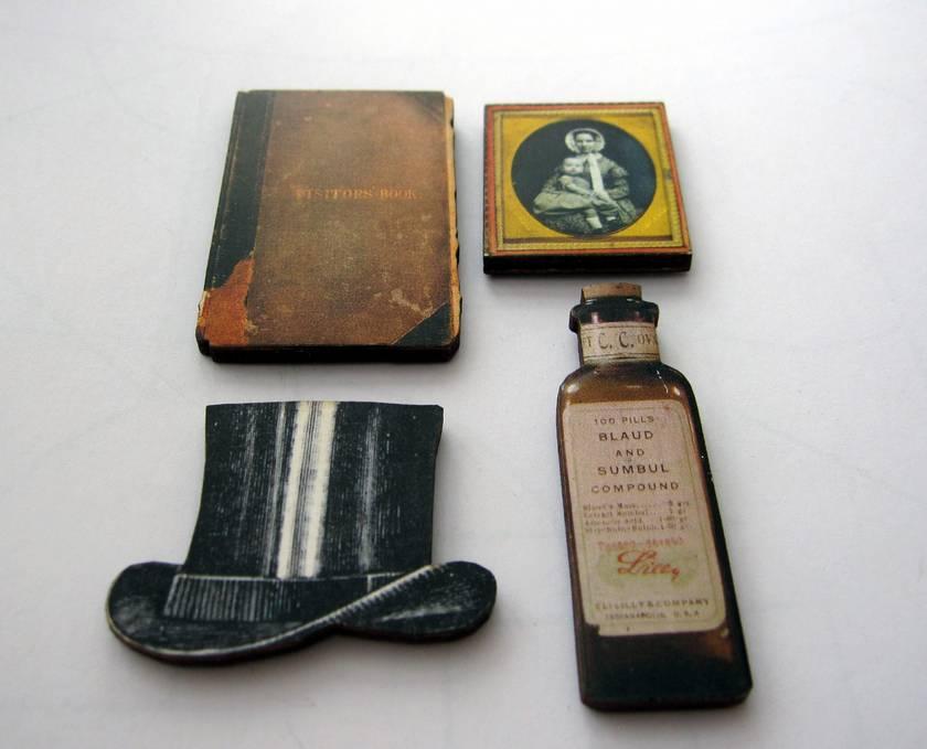 SALE - A murder mystery - woodcut magnet set