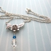 Floral pendant necklace with crystal drop