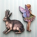 woodcut magnet duo.  Flower fairy and crowned hare.