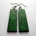 Green and black swirl earrings