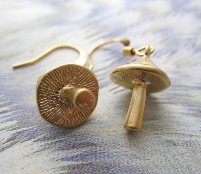 lil' gold mushroom earrings