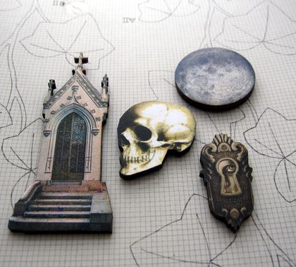 Gothic nightmare - woodcut magnet set