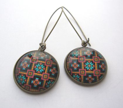 Round patterned earrings - turquiose and orage tile design