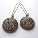 Round patterned earrings - turquiose and orange tile design