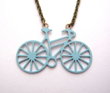 Teeny bike necklace - double sided, metallic copper or pale blue