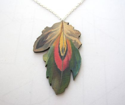 sale - Feather woodcut necklace