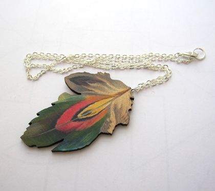 Feather woodcut necklace