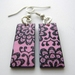 Black and pink floral earrings