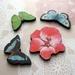 Butterflies and flower - woodcut magnet set