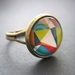 sale - colourful geo patterned glass dome ring