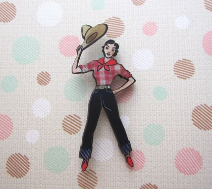 sale - cowgirl brooch