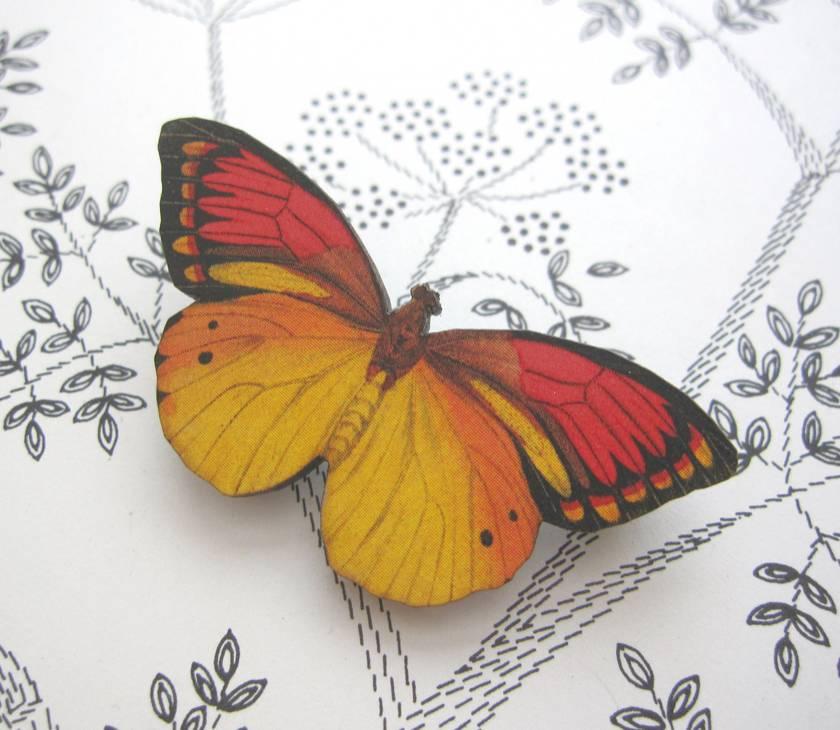 sale - Pretty bright butterfly brooch