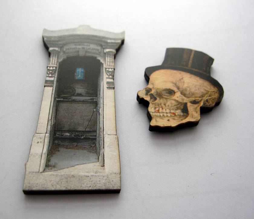 Dandy man skull and tombstone - woodcut magnet duo