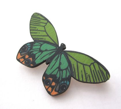 sale - pretty butterfly in greens and peach