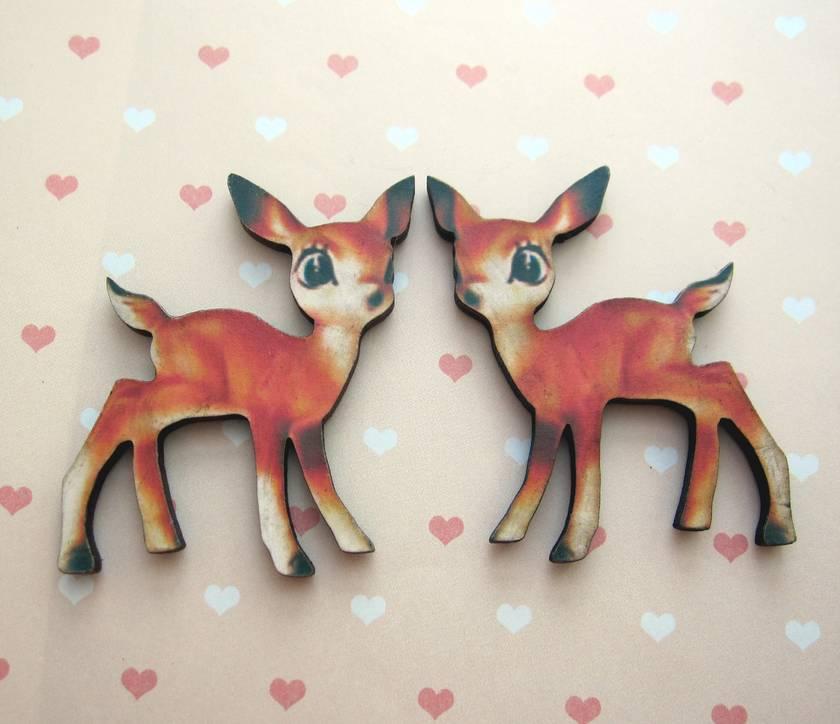 Deer - woodcut magnet duo