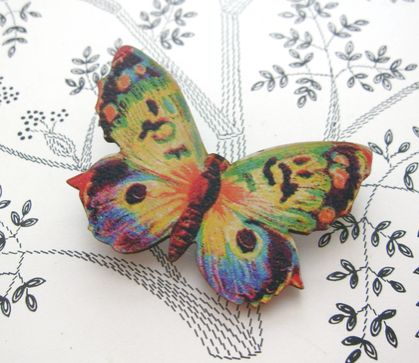 sale - Watercolour butterfly brooch
