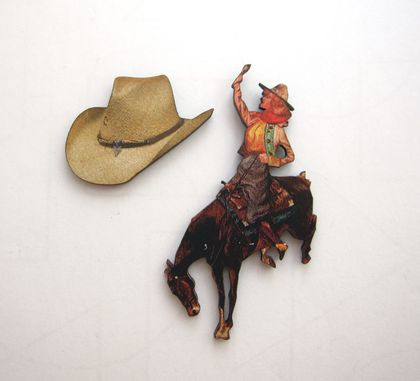 Cowgirl and her favourite hat - woodcut magnet duo