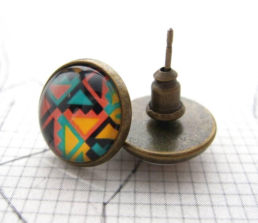 sale - fun geo brights, glass dome stud earrings