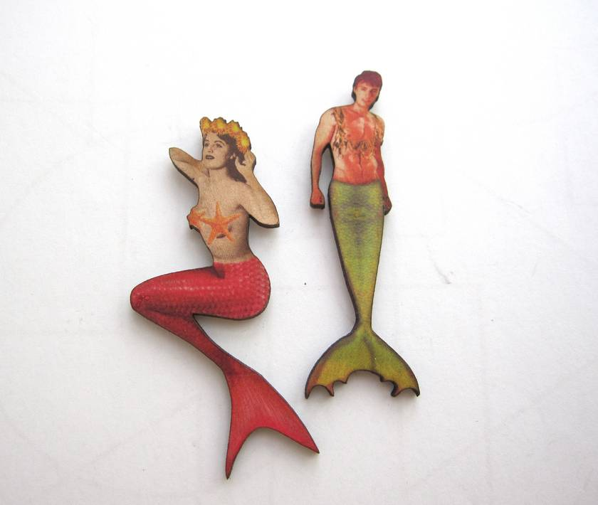 20% off with voucher code SALE  - merpeople - woodcut magnet duo