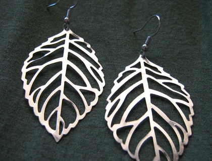 Large silver filigree leaf earrings