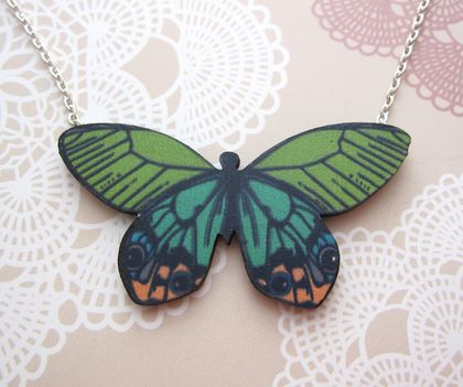 Pretty butterfly necklace - greens and peach