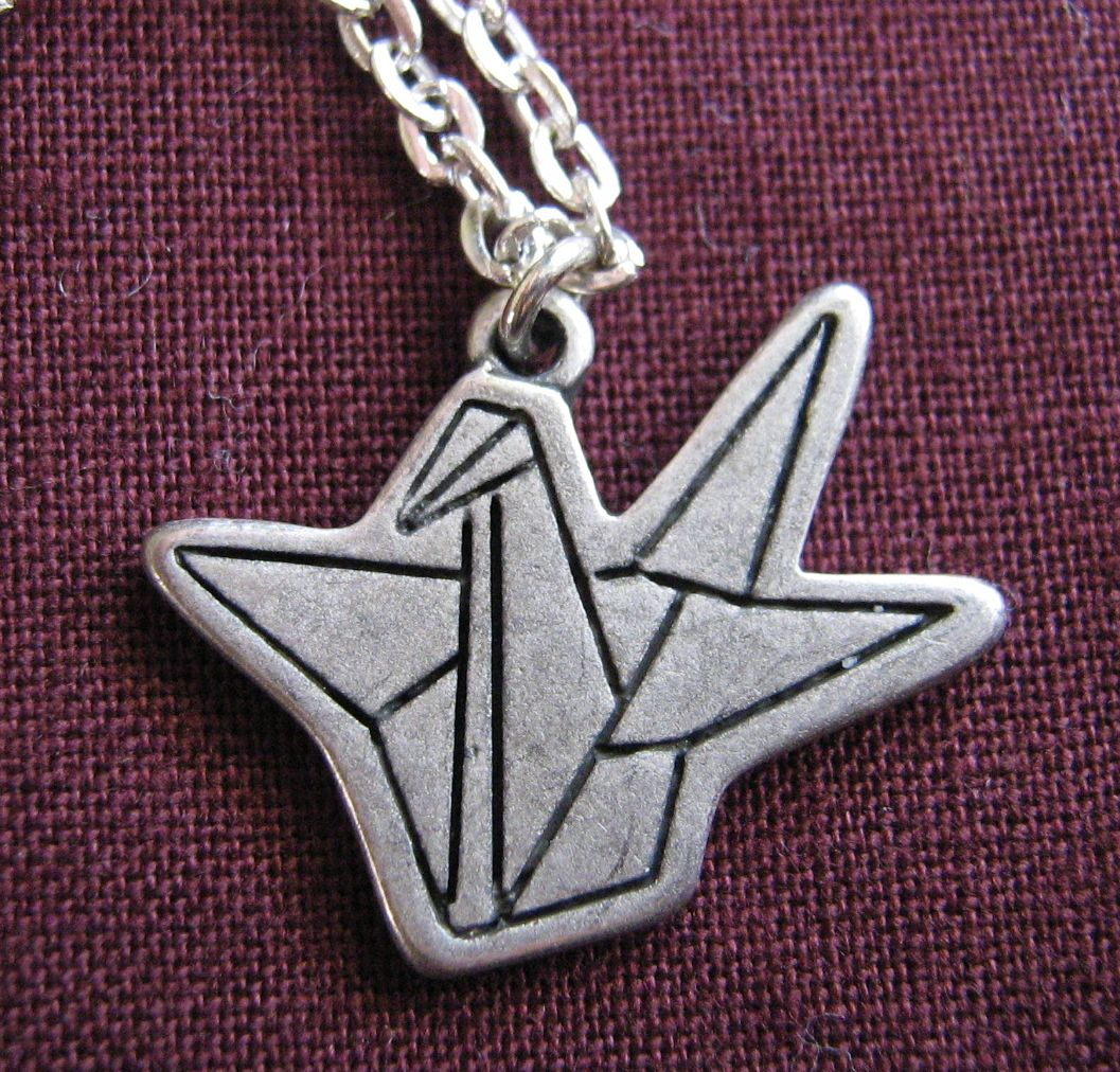 Paper crane charm necklace | Felt - photo#45