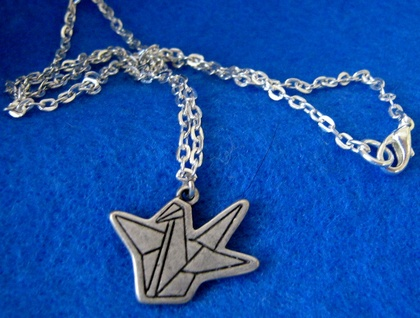 Sale - Paper crane charm necklace