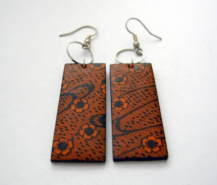 orange blossom patterned earrings