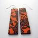Orange and black long asian design earrings