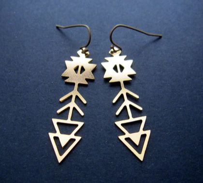 gold aztec arrow earrings