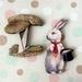 woodcut magnet duo.  Dapper rabbit and mushroom.