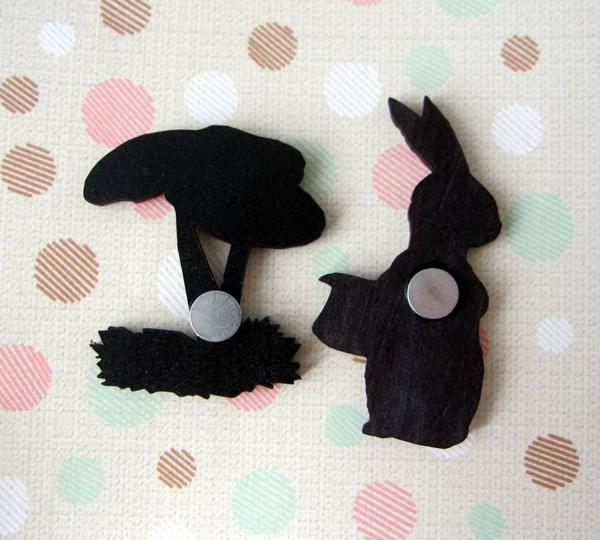 woodcut magnet duo.  Dapper rabbit and mushroom.