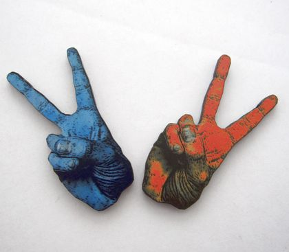 Peace sign woodcut magnet duo