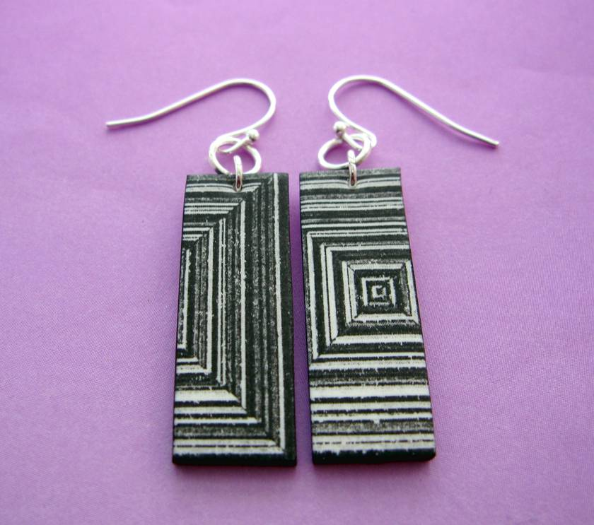 Black and white abstract earrings