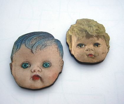 Doll head duo - woodcut magnets